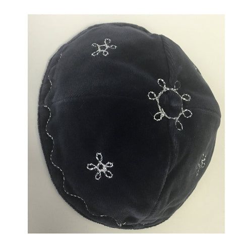 Alef Judaica Grey Velvet Yarmulke with No Border - Silver Flowers With Wavy Trim Around The Edge Design - 2 Kippot Per Order