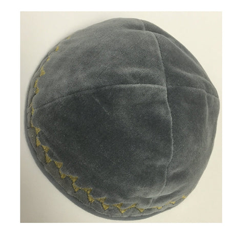 Alef Judaica Grey Velvet Yarmulke with Matching Border - Gold Chain Trim Design - 6 Kippot Per Order