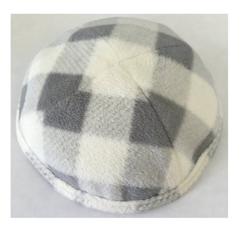 Alef Judaica Grey Cozy Fleece Yarmulke with No Border - Plaid White and Grey Design - 6 Kippot Per Order