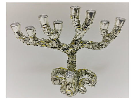 Alef Judaica Silver and Gold Colored Menorah - Twisting City of Jerusalem Houses Design