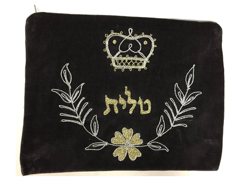 Alef Judaica Grey Velvet Zipper Tallit Bag with Gold and Silver Crown Over Bow with Flower and Leaves Circular Trim Design