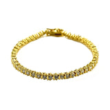 Gold Plated Round Cut CZ Tennis Bracelet