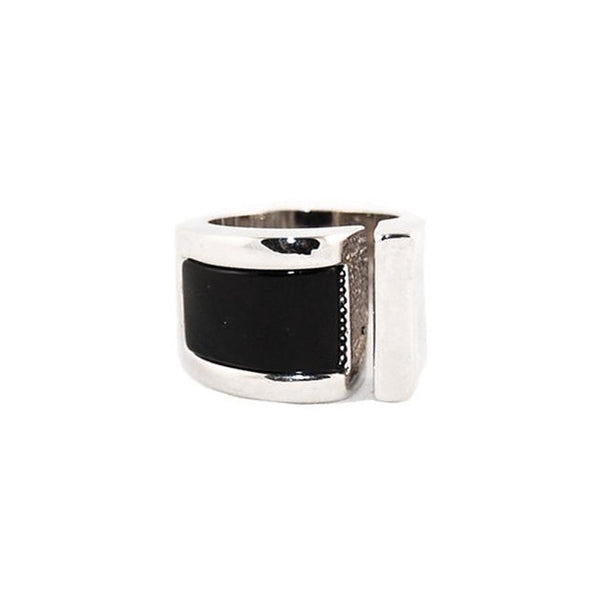 Designer Inspired Black Enamel Open Cuff Ring in Rhodium