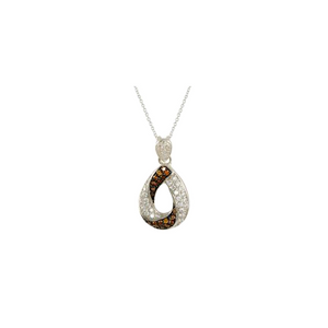 Large Chocolate and White Pave CZ Diamond Pendant Necklace