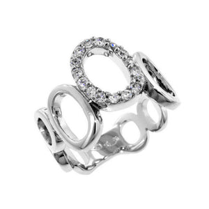 Designer Inspired CZ Pave Sterling Silver Open Circle Ring