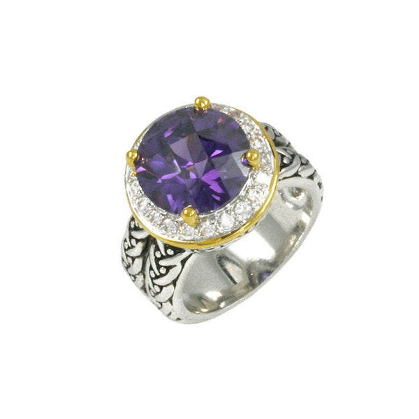 Designer Inspired Round Amethyst CZ Set in Pave Border Silver Band with Gold Accents