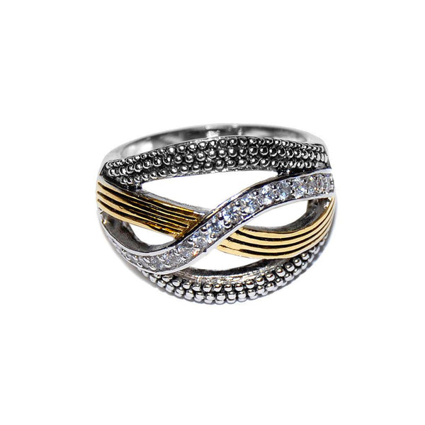 Designer Inspired Pave Crossover Silver Band with Gold Accents