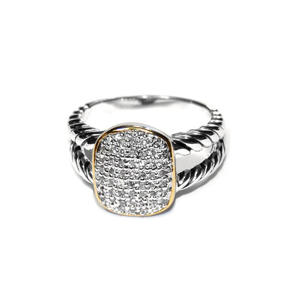 Designer Inspired Gold Border Pave Ring with Braided Split Shaft Silver Band