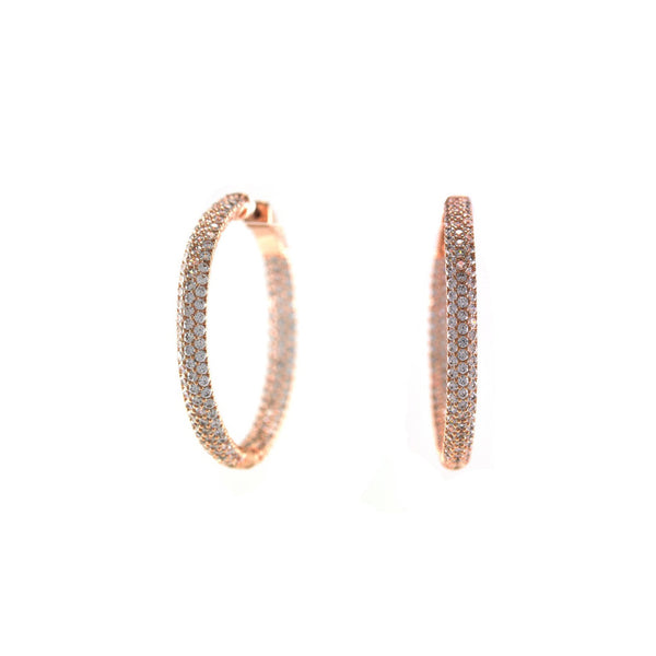 Micro Pave  'J-Lo' Cylindrical Hoop Earrings in Rose Gold