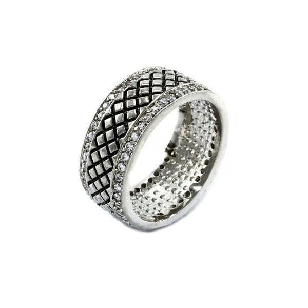 Diamond Grid Rhodium Band Framed With Pave Accents