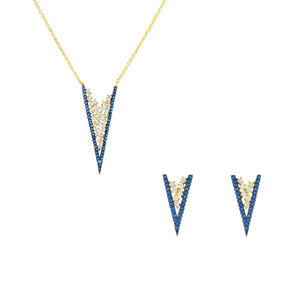 Gold V 2 Piece Gift Set of Necklace and Earrings With Turquoise CZ Stones