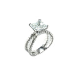 Designer Inspired Princess Cut CZ Ring with Braided Split Shaft Silver Band