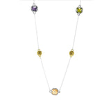 "Designer Inspired 36"" Hammered Gold Multicolor Stone Station Necklace"