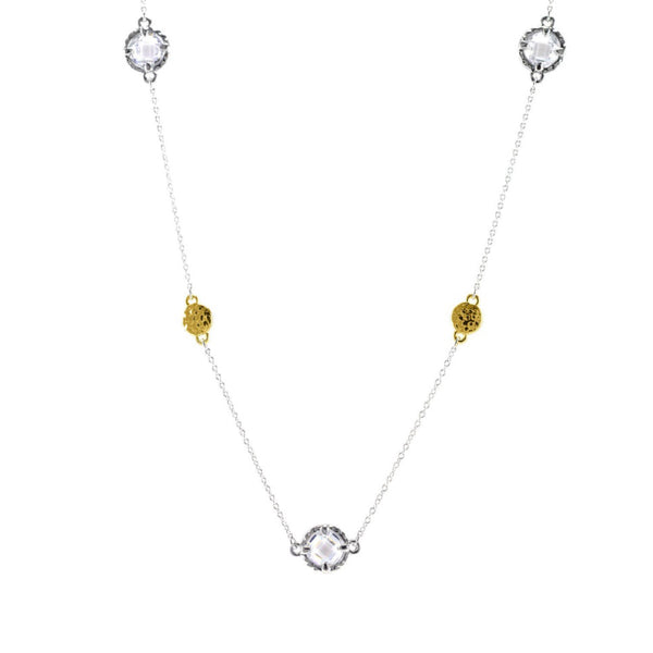 "Designer Inspired 36"" Hammered Gold Clear Stone Station Necklace"