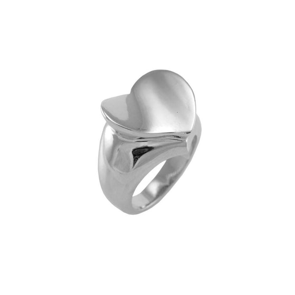 Designer Inspired Solid Heart Ring in Rhodium