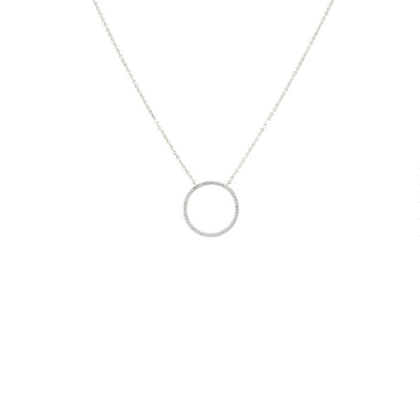 Forever Love Circle Pendant in Rhodium With CZ Stones