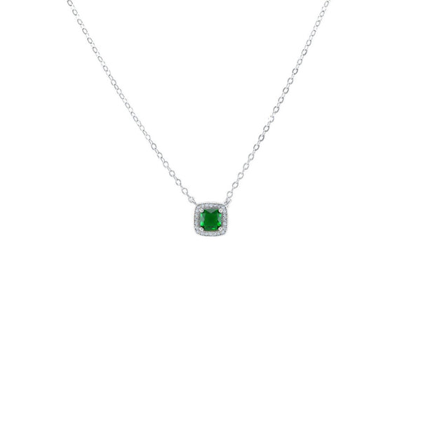 Square Cut Pendant Necklace With Emerald CZ Stones