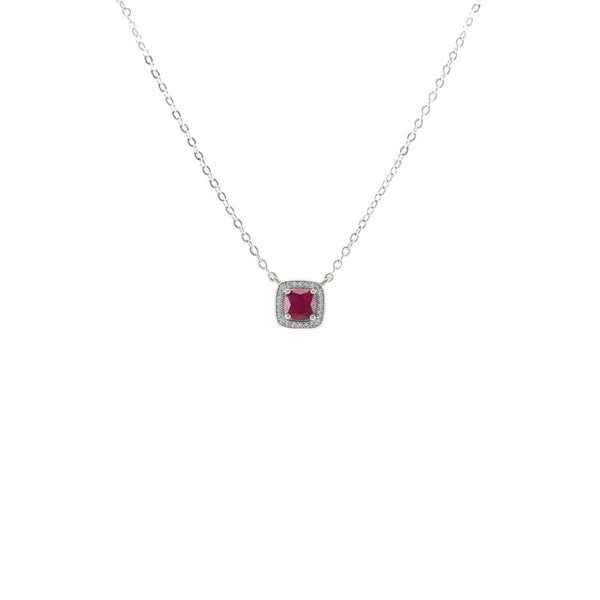 Square Cut Pendant Necklace With Ruby CZ Stones