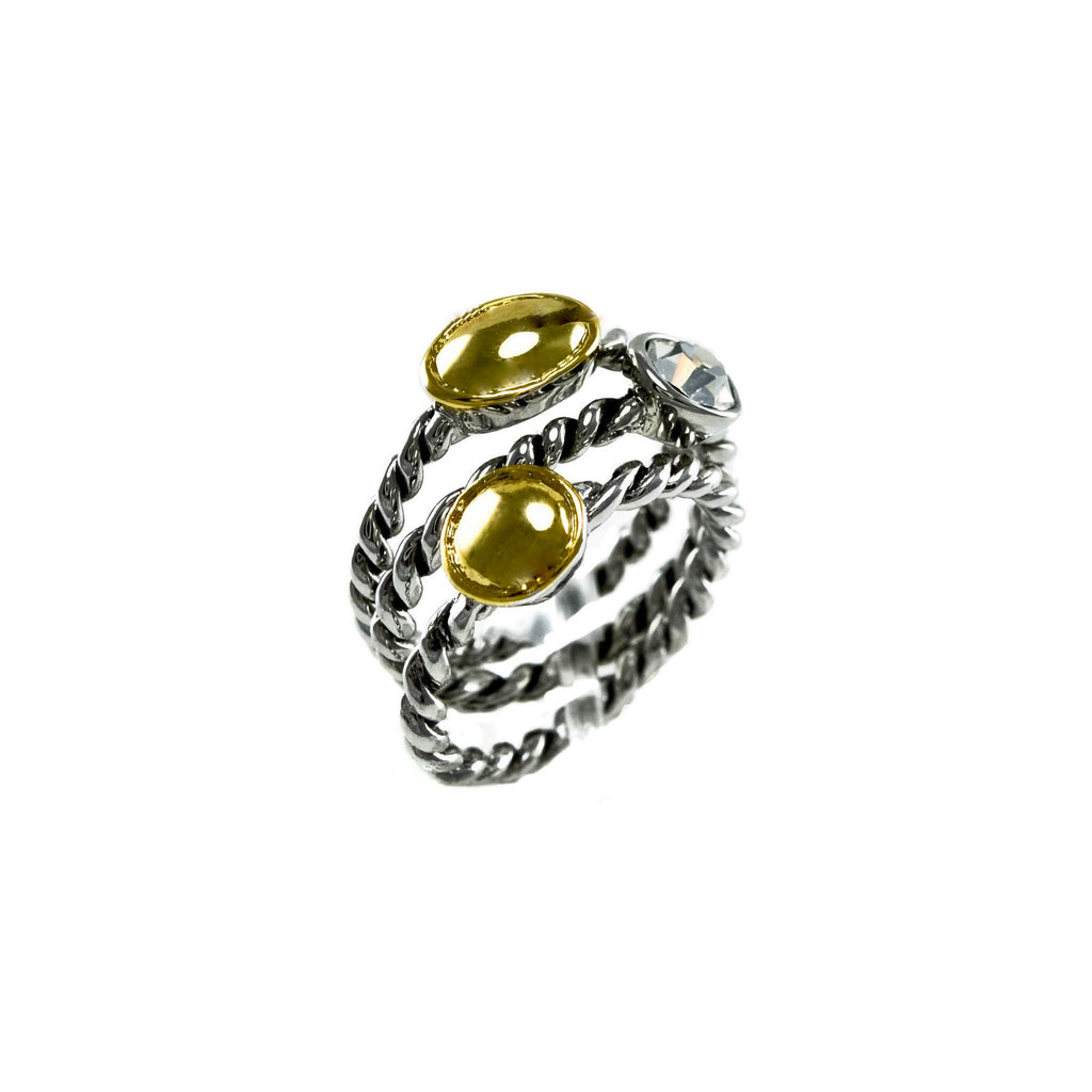 Designer Inspired Hammered Gold Stack Ring