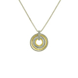 Multi-Circle Two Tone Pendant Necklace With Adjustable Chain