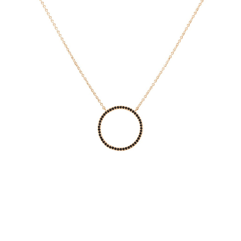 Forever Love Circle Pendant in Rose Gold With Hematite CZ Stones