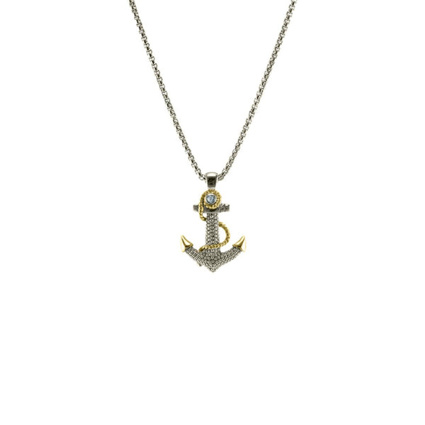 Designer Inspired Anchor Pendant in Rhodium With CZ Stones
