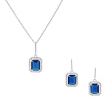 Sapphire Emerald Cut 2 Piece Gift Set of Necklace and Earrings