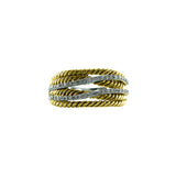 Designer Inspired Crossover Pave CZ and Gold Plated Rope Ring