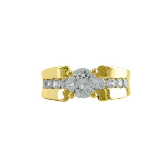 2.0 CT Round Solitaire CZ Ring in Gold with Accent Stones