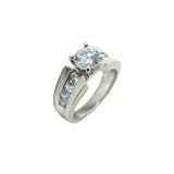 2.0 CT Round Solitaire CZ Ring in Rhodium with Accent Stones