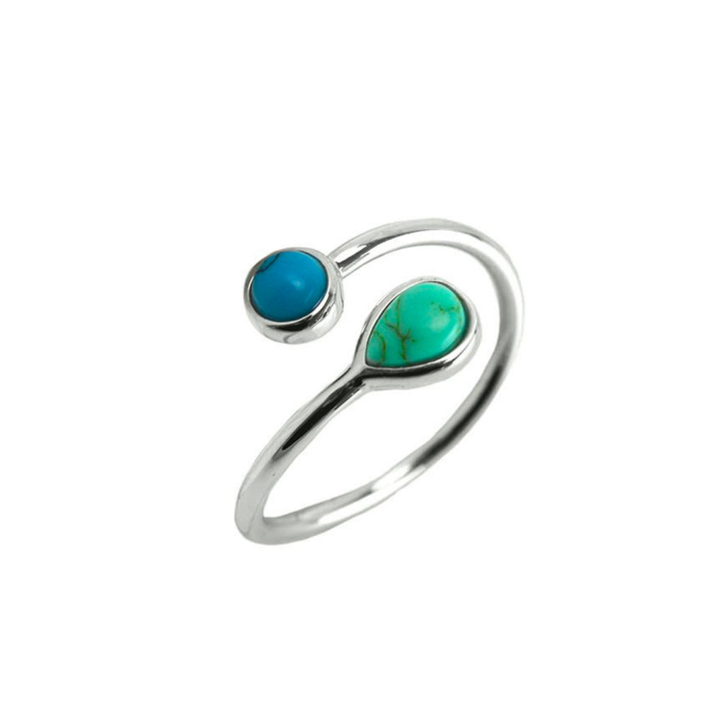 Designer Inspired Natural Turquoise and Blue Stone Set in an Open Silver Adjustable Band