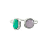 Designer Inspired Natural Turquoise and Lavender Moon Stone Set in an Open Silver Adjustable Band