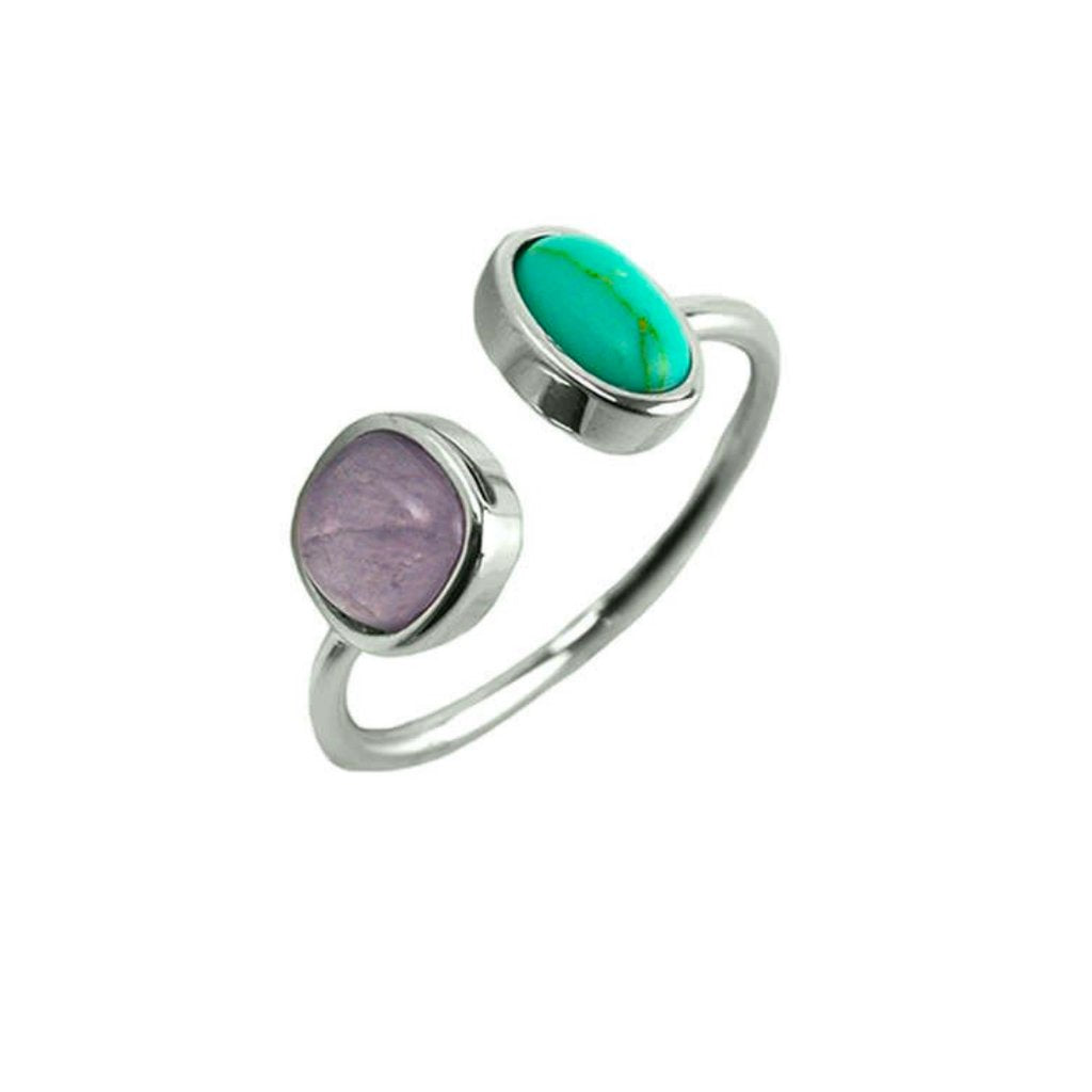 Natural Open Set Turquoise Adjustable Ring - 3 Options - One Size Fits All
