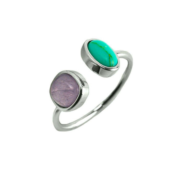 Designer Inspired Natural Turquoise and Lavender Stone Set in an Open Silver Adjustable Band