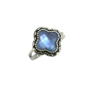 Designer Inspired Blue Shell/Moonstone Ring