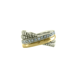 Crossover Crystal Rope ring in Gold and Rhodium With Pave Accented Band