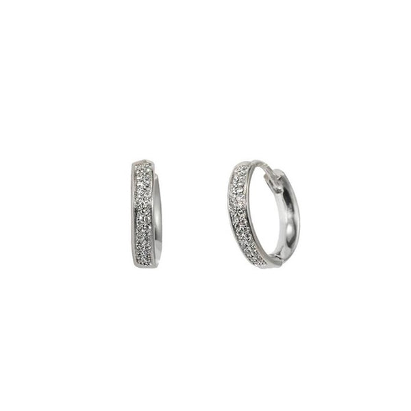 Double Row Pave Huggies in Silver