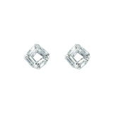 CZ Square Stud Earrings in Rhodium