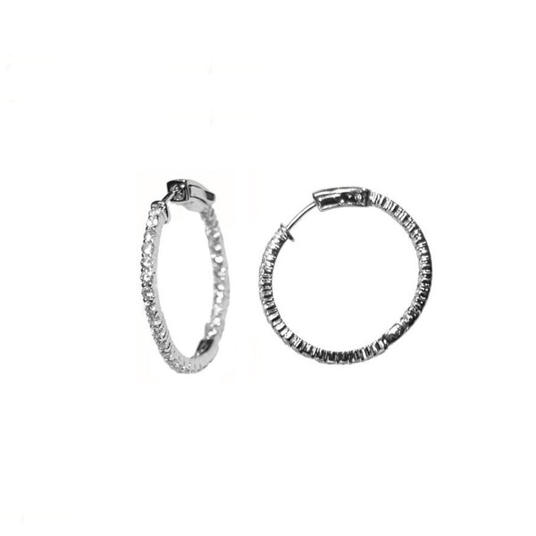 Traditional 30mm Pave Hoop Earrings