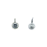 Pave Halo CZ Stone Drop Earrings
