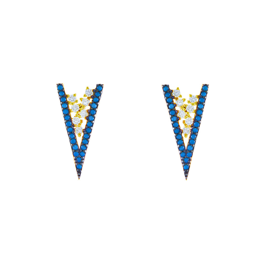 Gold 'V' Earrings with Turquoise CZ's