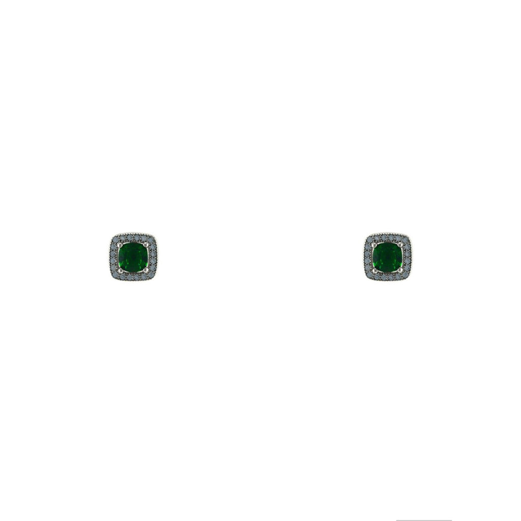 Emerald CZ Square Cut Stud Earrings