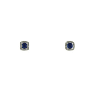 Sapphire CZ Square Cut Stud Earrings