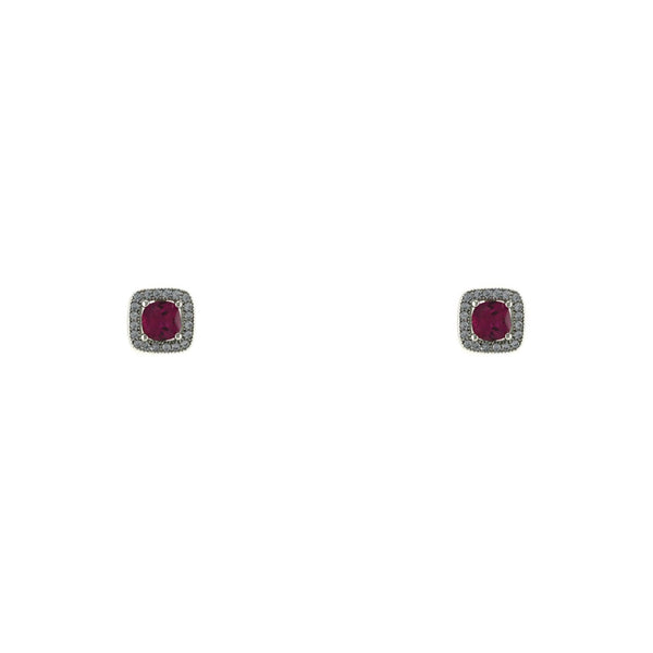 Ruby CZ Square Cut Stud Earrings