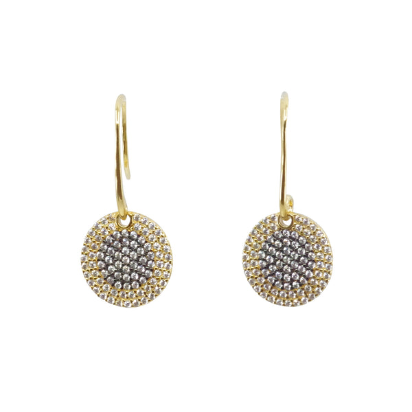 Micro Pave Halo Medallion Fishhook Earrings