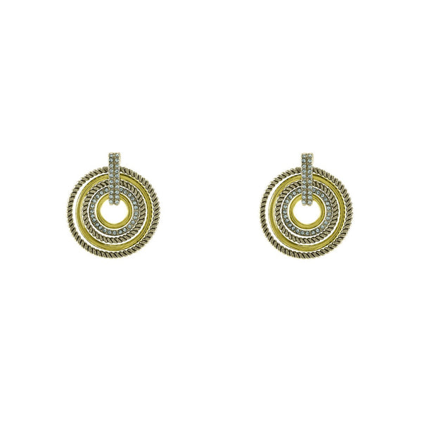 Multi-Circle Two Tone Stud Earrings