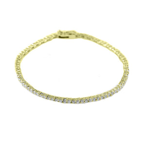 Gold Plated 2mm Clear Round Cut CZ Tennis Bracelet