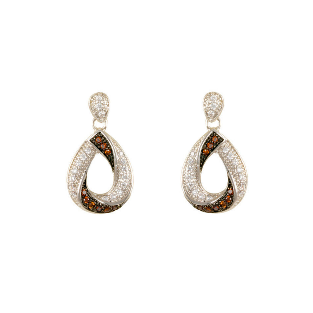 Large Chocolate and White Pave CZ Diamond Earrings