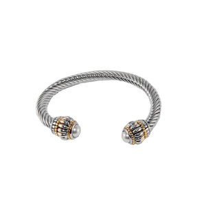 Designer Inspired Chunky Pearl Cable Cuff Bracelet