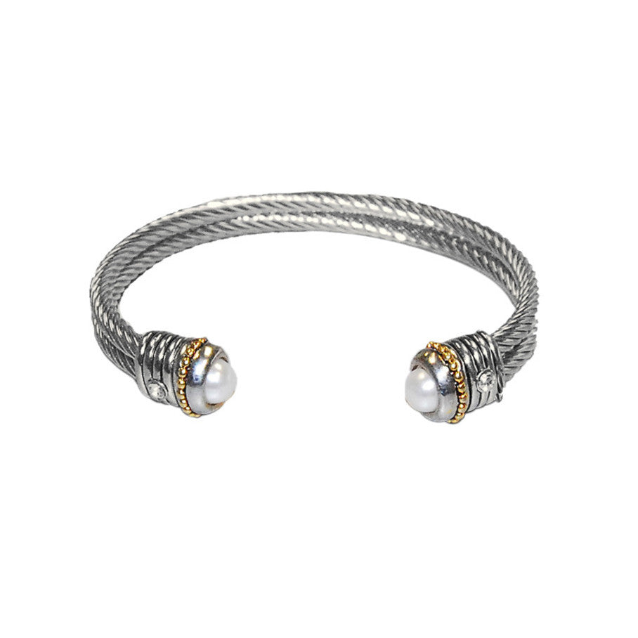 Designer Inspired Pearl Twisted Rope Cable Cuff Bracelet